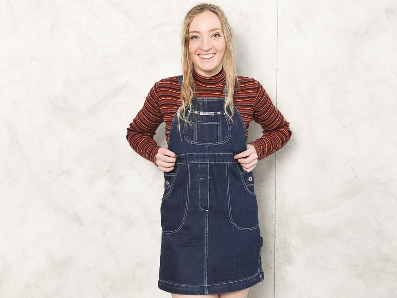 Blue dress buckled jean overall convertible wear
