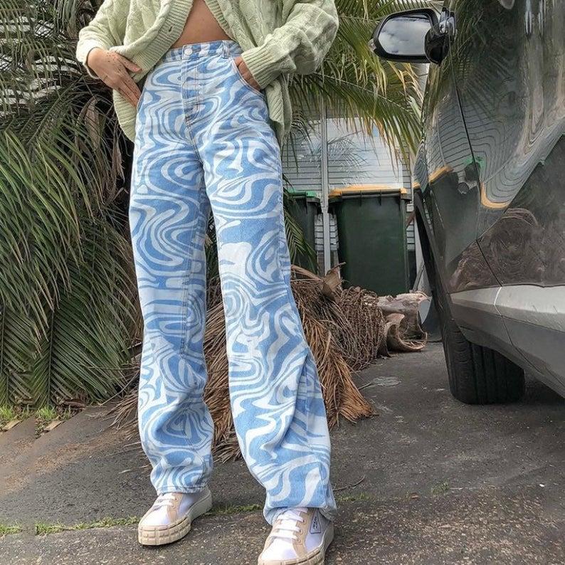 Printed High Waisted Pants
