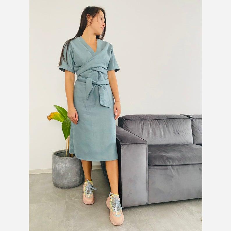Tied Linen Dress / Midi Dress