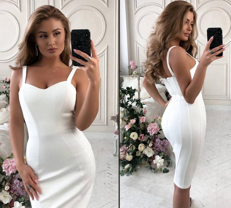 White pencil dress,Simple wedding dress