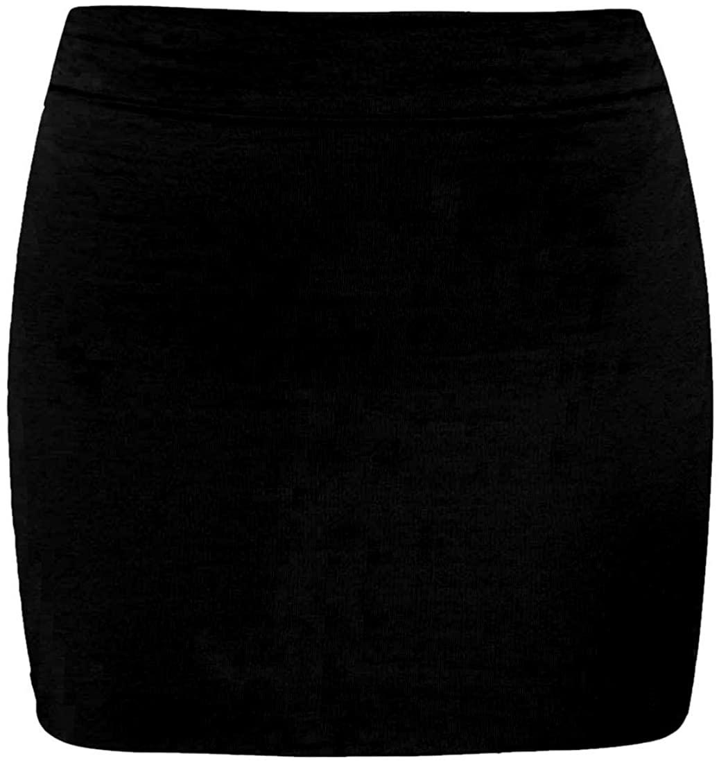 janisramone Womens Ladies Waisted Plain Jersey Summer Bodycon Tube Office Pencil Short Mini Skirt
