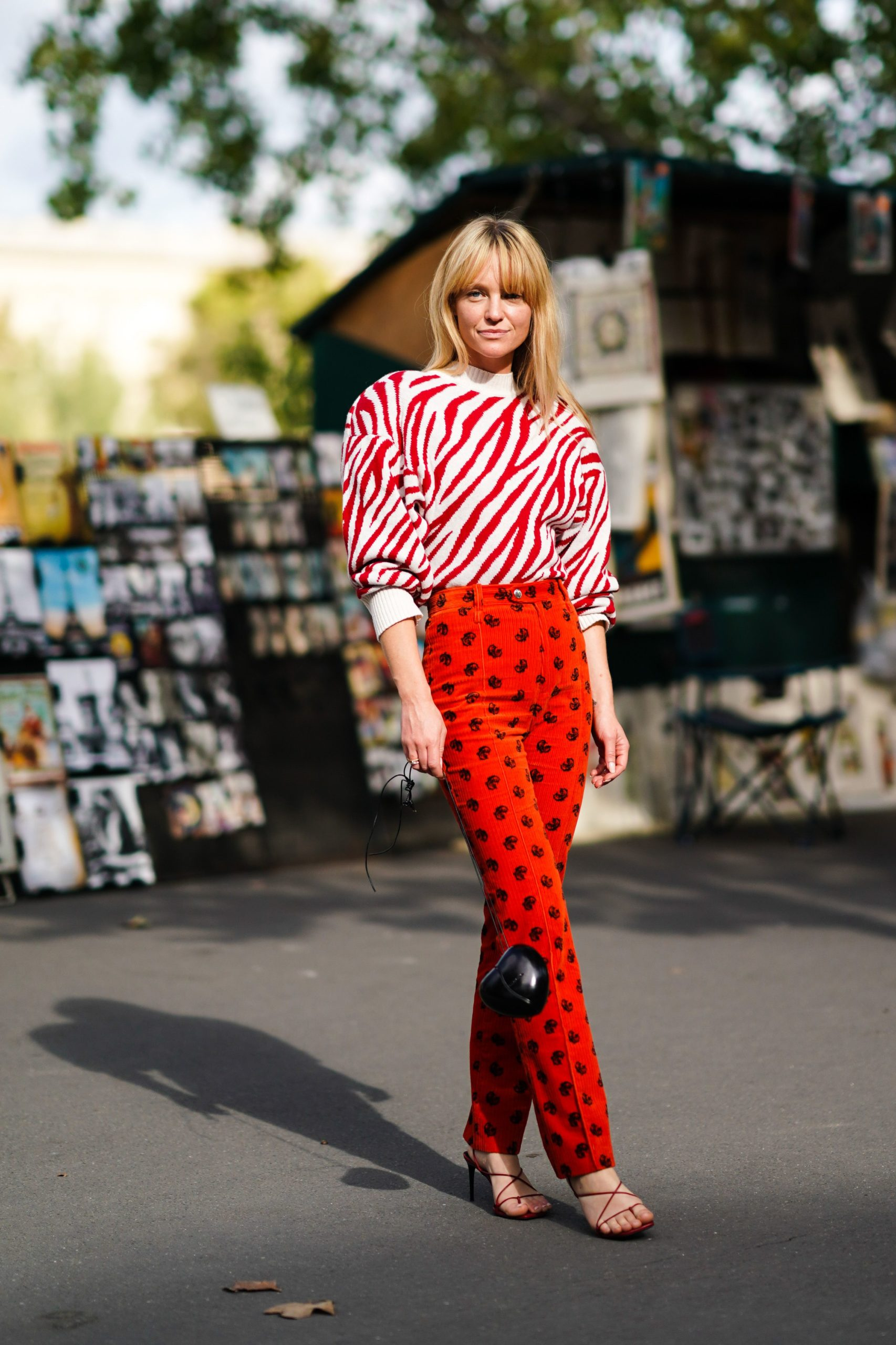 red patterned fashion