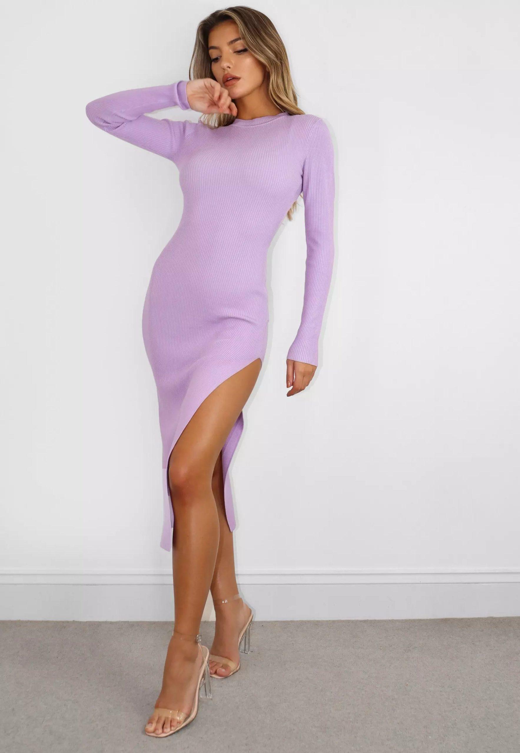 lilac knit crew neck midi dress