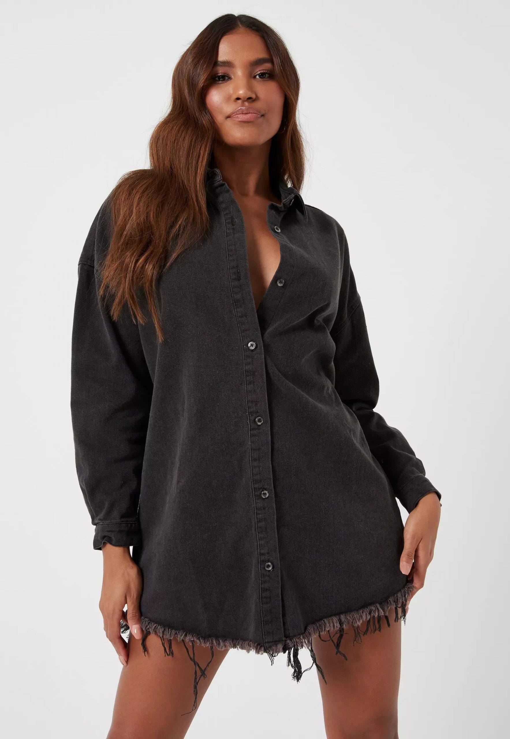 petite black oversized denim shirt dress