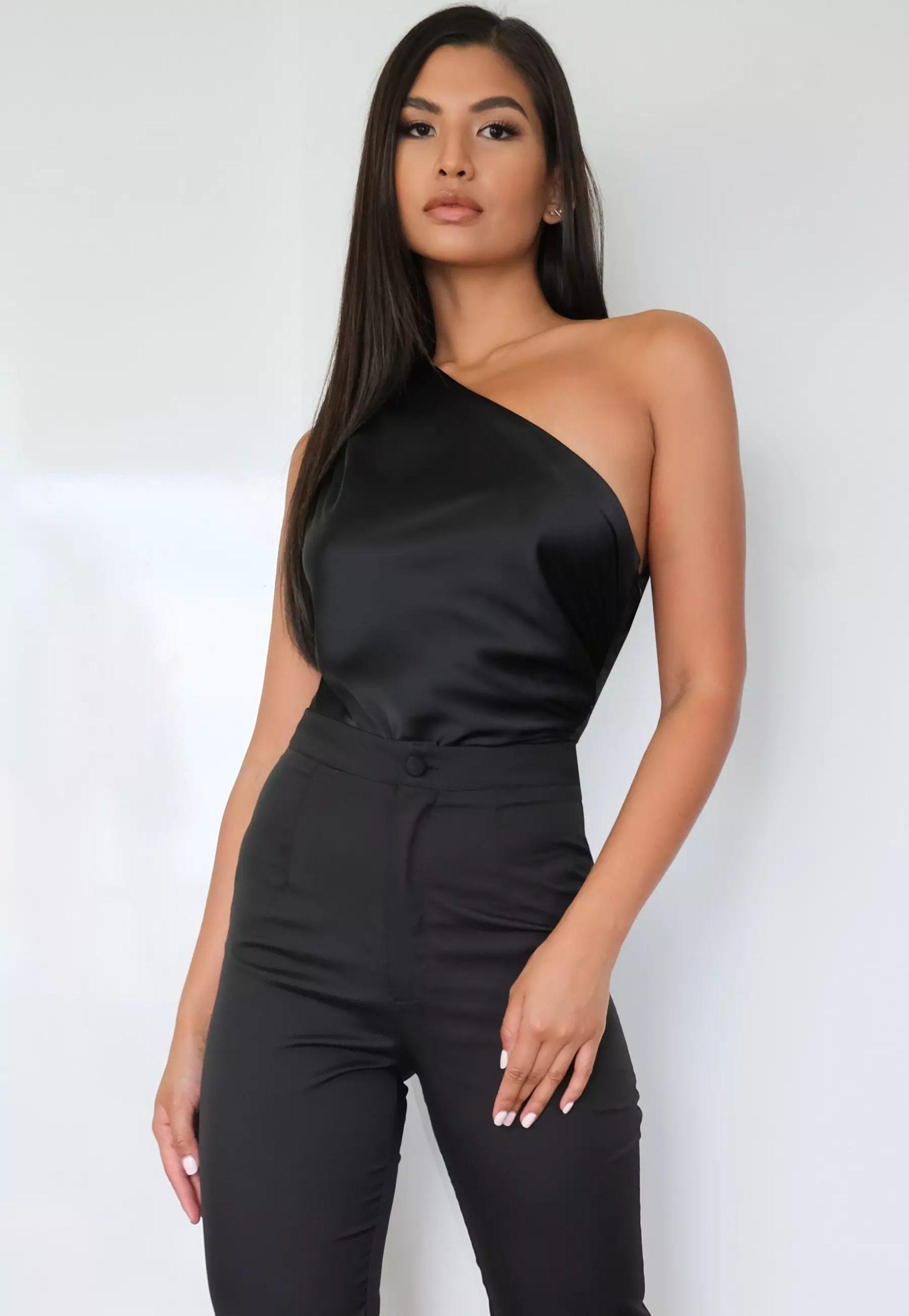petite black satin one shoulder bodysuit