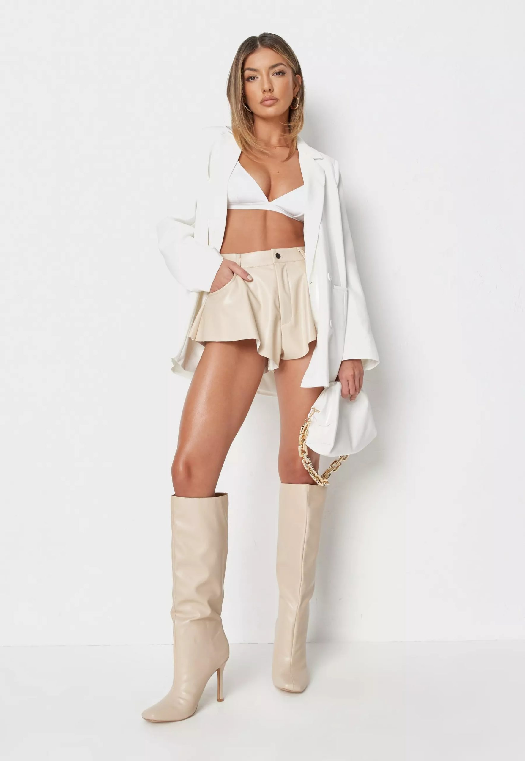 petite cream faux leather floaty shorts