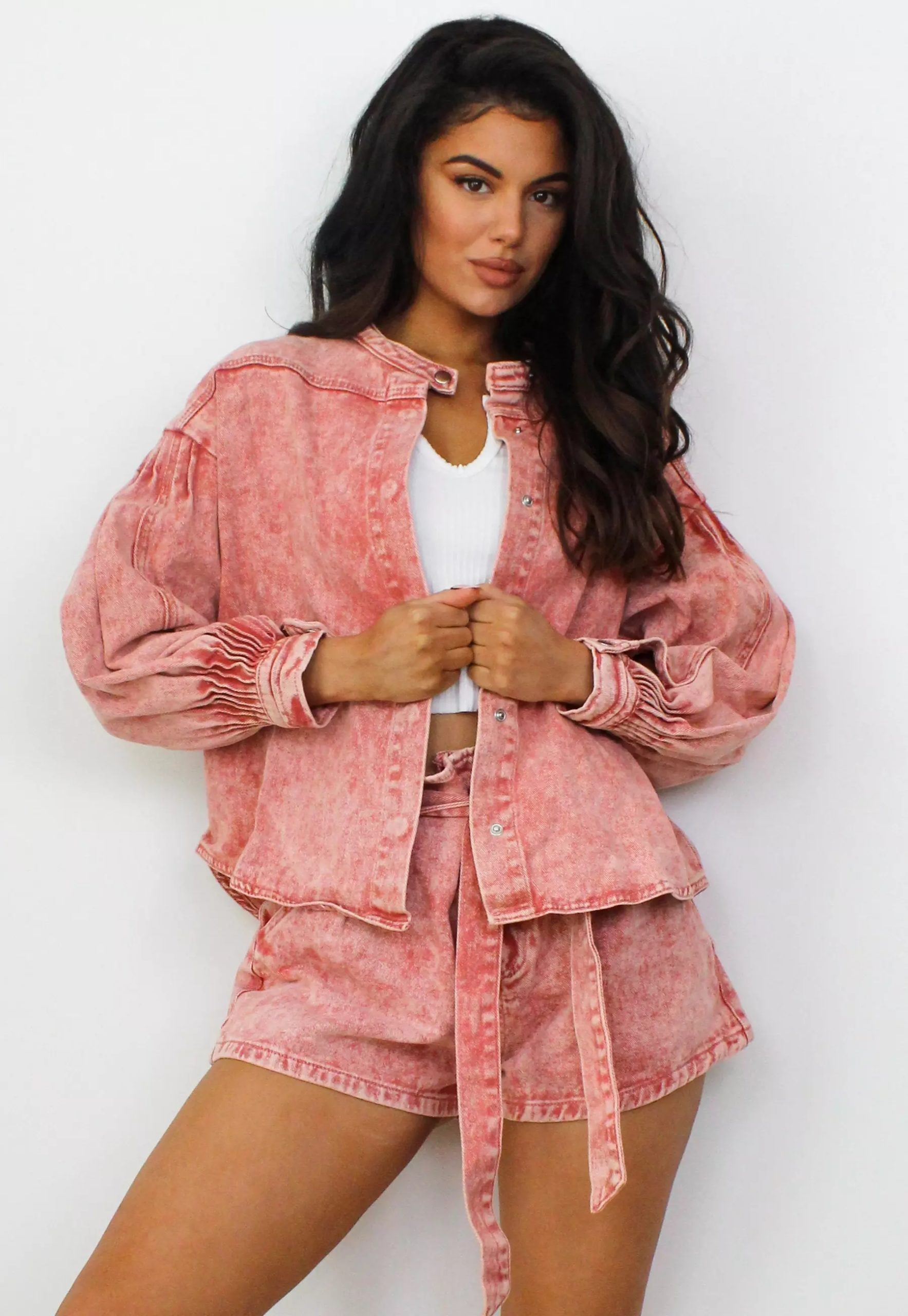 pink co ord acid wash mandarin collar denim shirt