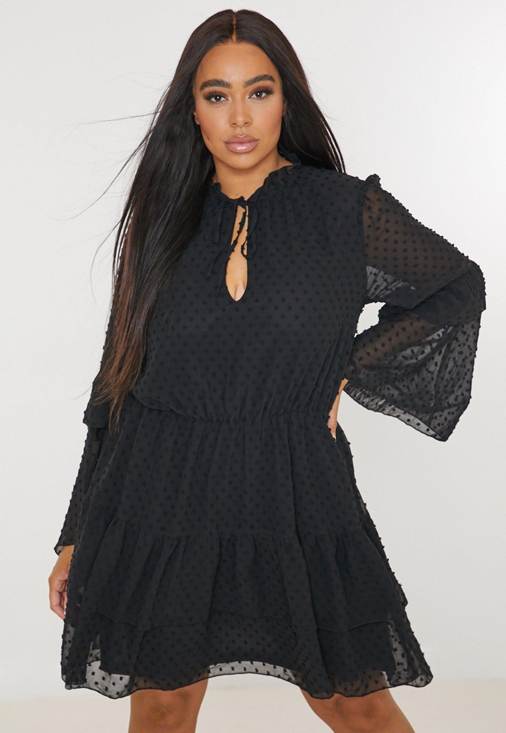 plus size black dobby flutter sleeve smock dress