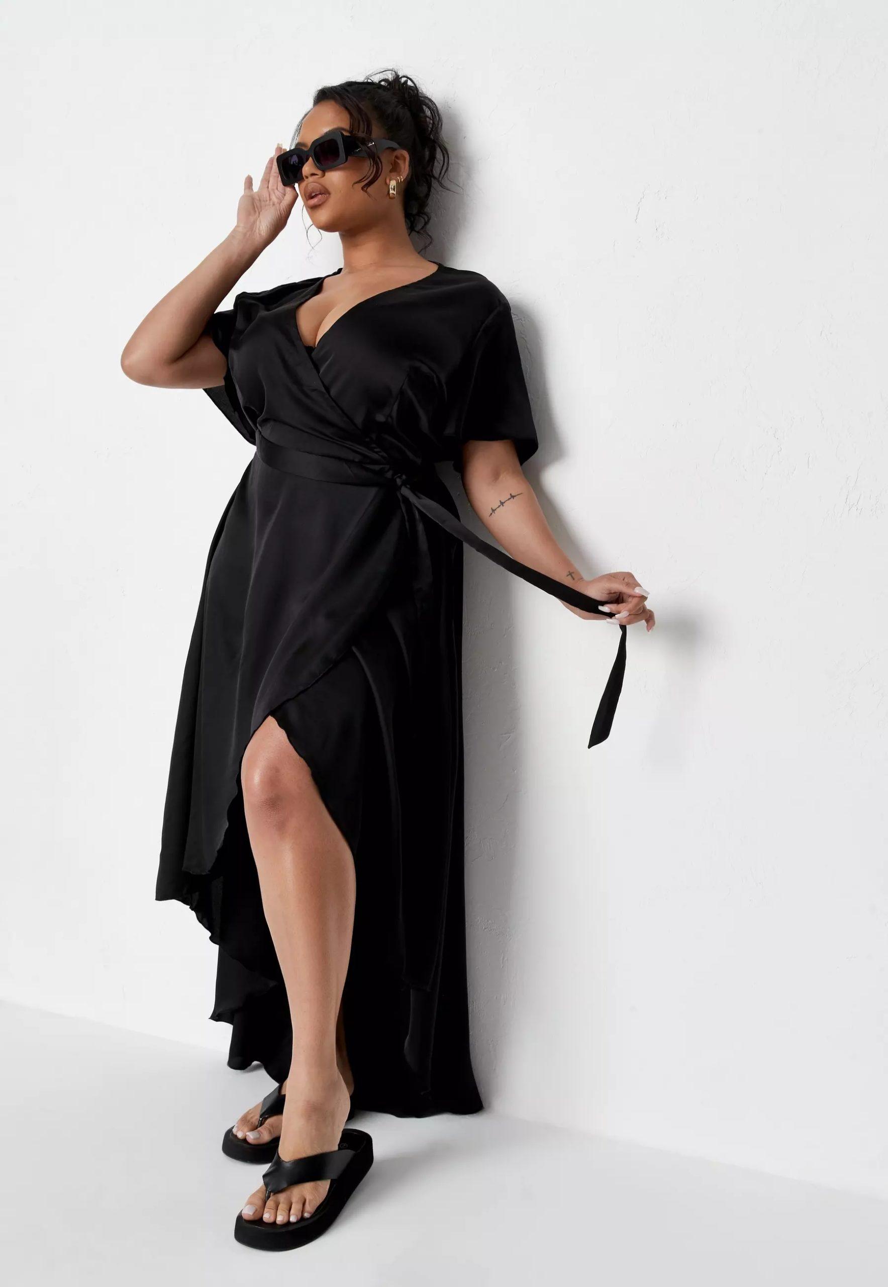 plus size black satin ruffle wrap maxi dress