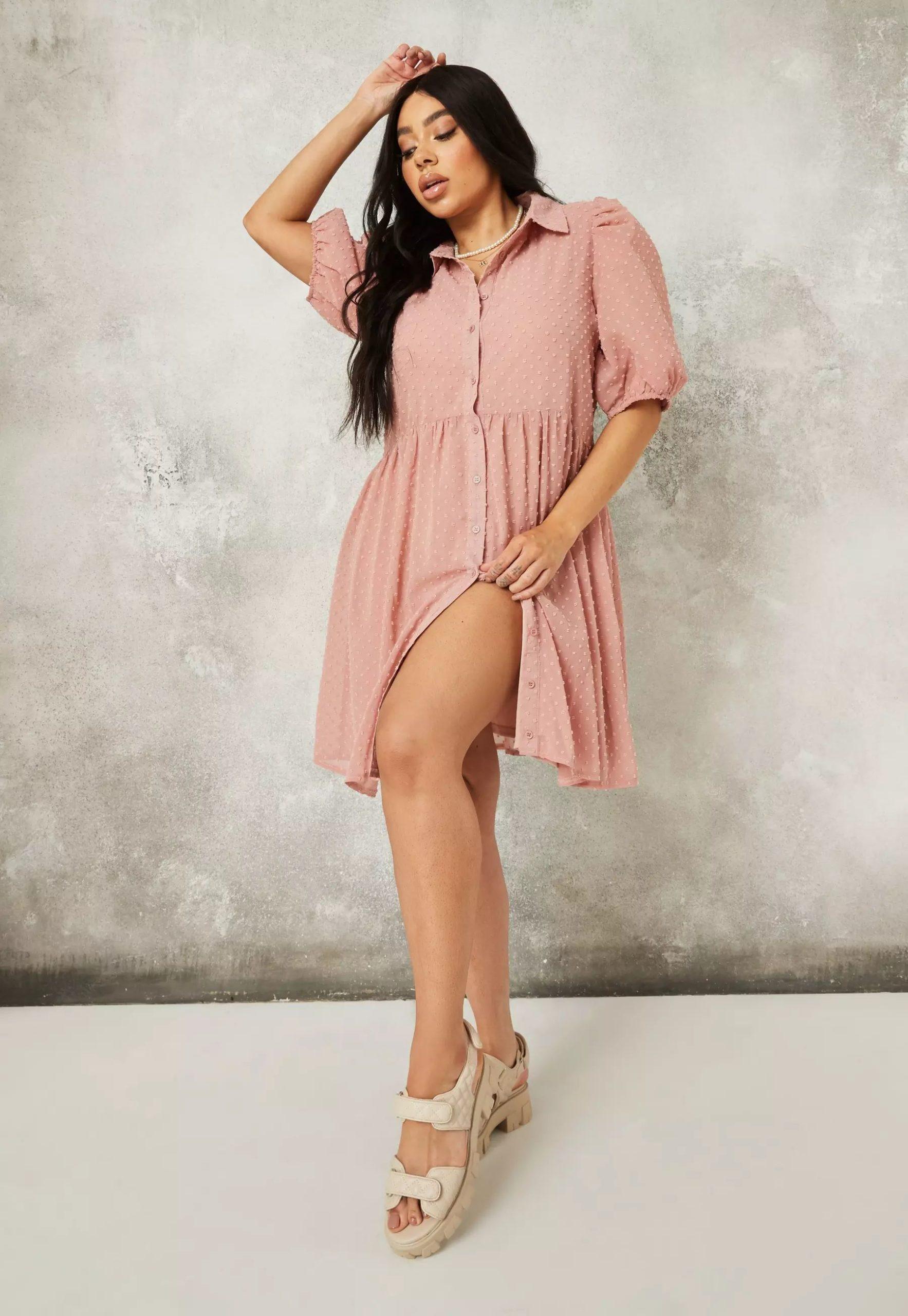 plus size blush dobby puff sleeve smock dress