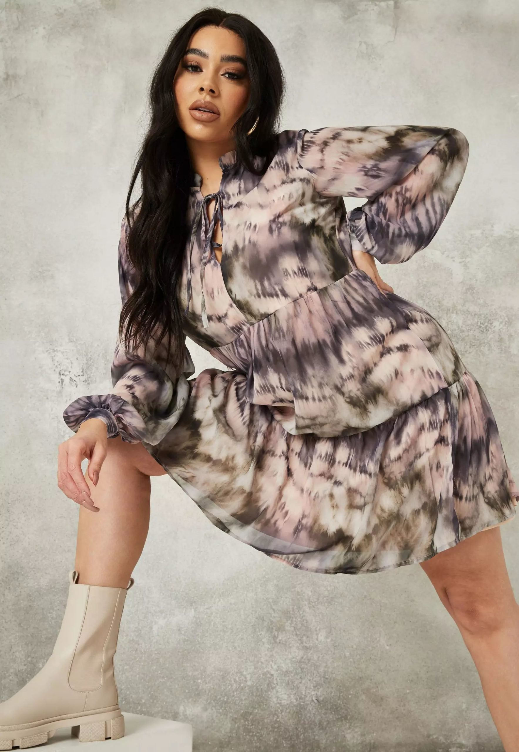 plus size grey marble print keyhole frill smock dress