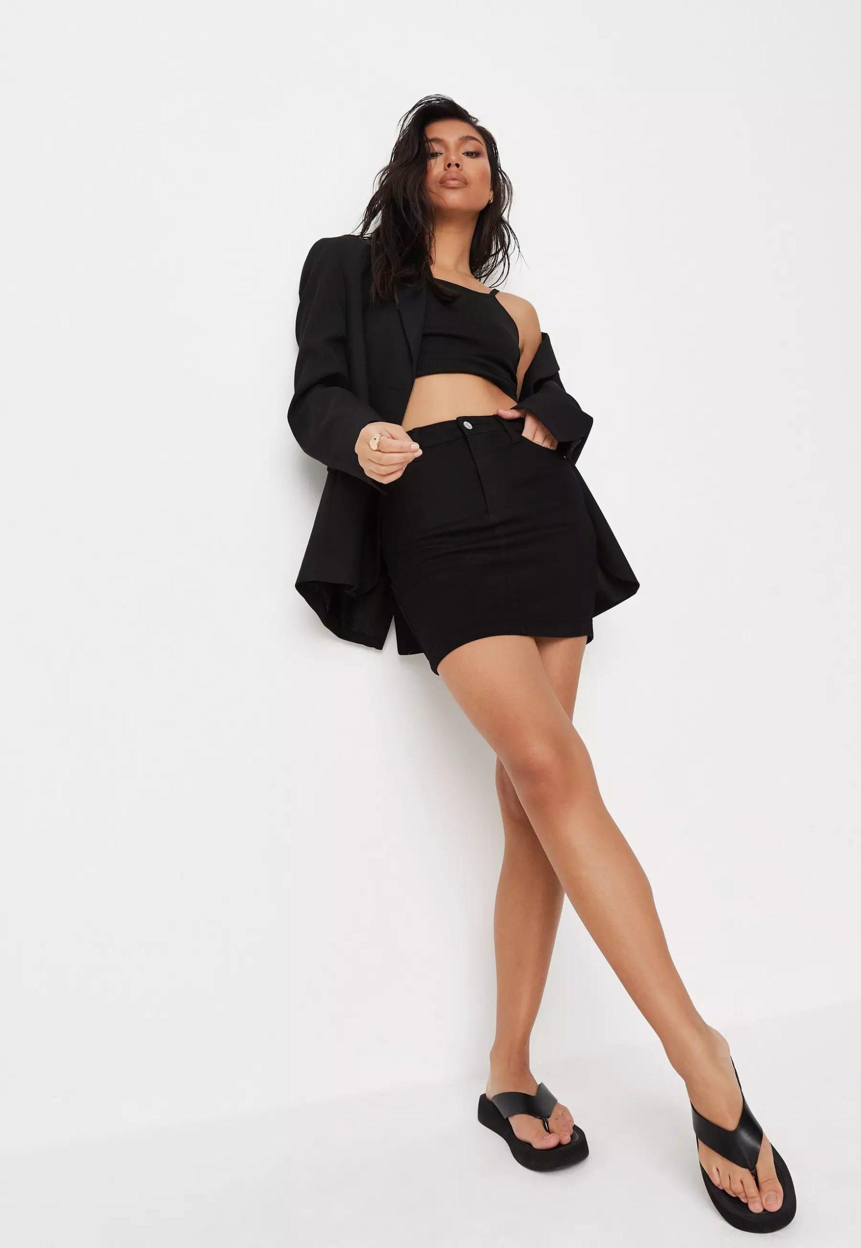 recycled black super stretch denim mini skirt