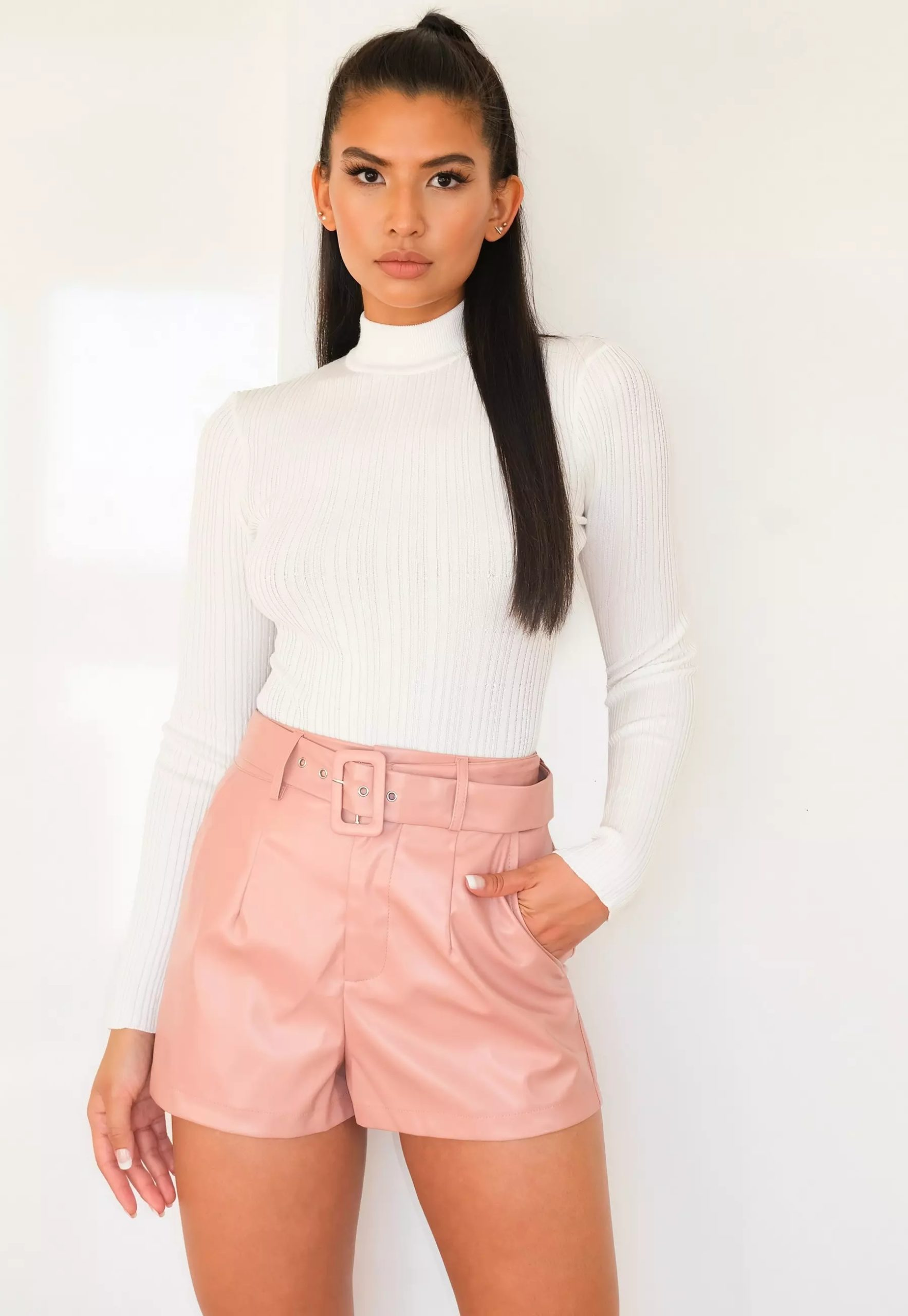 rose faux leather belted shorts