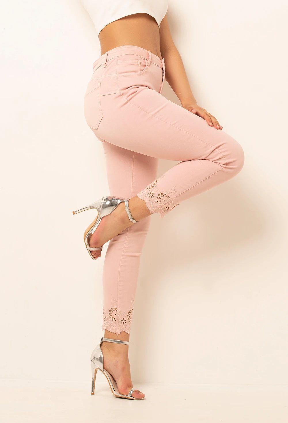 Sweet Stuff Pink Cut Out Pattern Hem Skinny Jeans