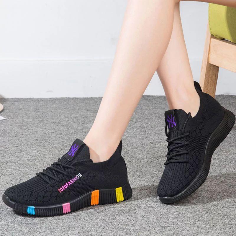Fashion Black Sneakers For Women Knit Shoes On Platform Non-slip Femme Basket Rainbow Designer Buffalo Shoes Women's Trainers