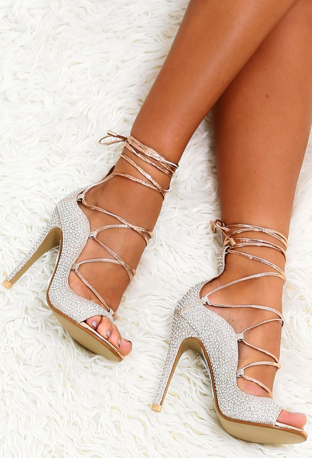 crystal embellishments lace up heels