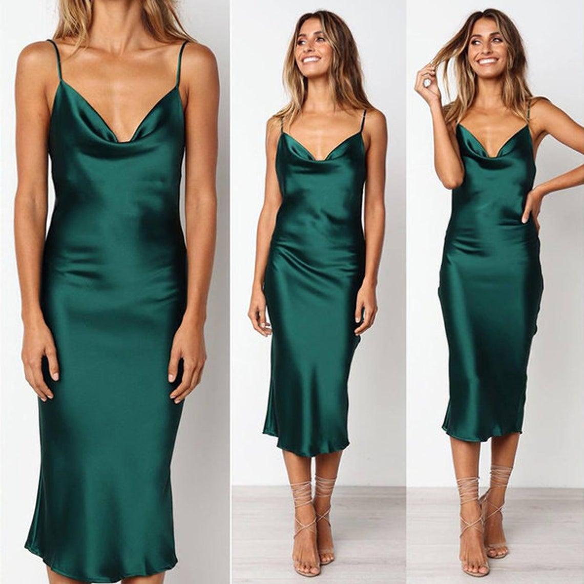 silk slip dress midi bias cut cowl neck Silk bridesmaid dress green silk satin dress Party dress Date dress