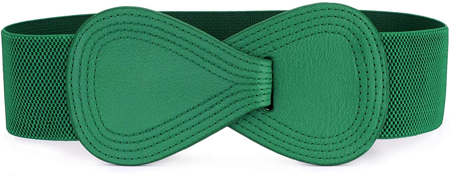 sourcingmap Interlock Buckle 8-shaped Faux Leather Elastic Belt Cinch Waistband for Lady
