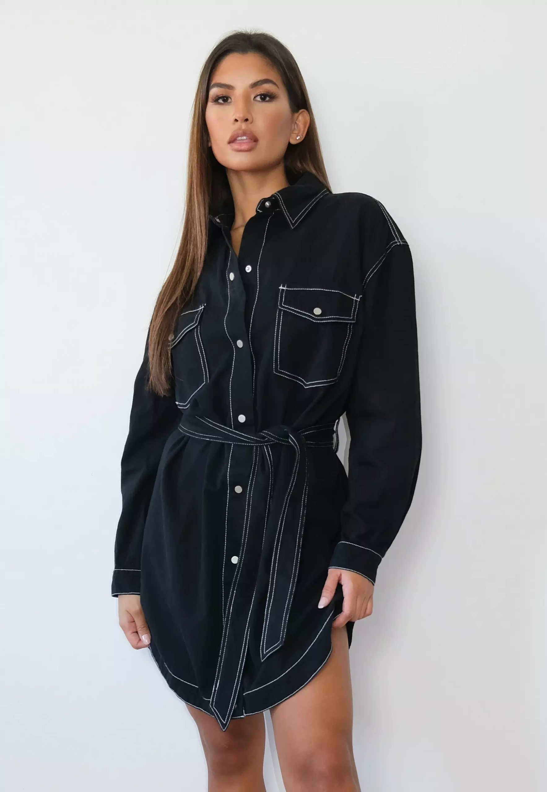 tall black oversized contrast stitch denim shirt dress