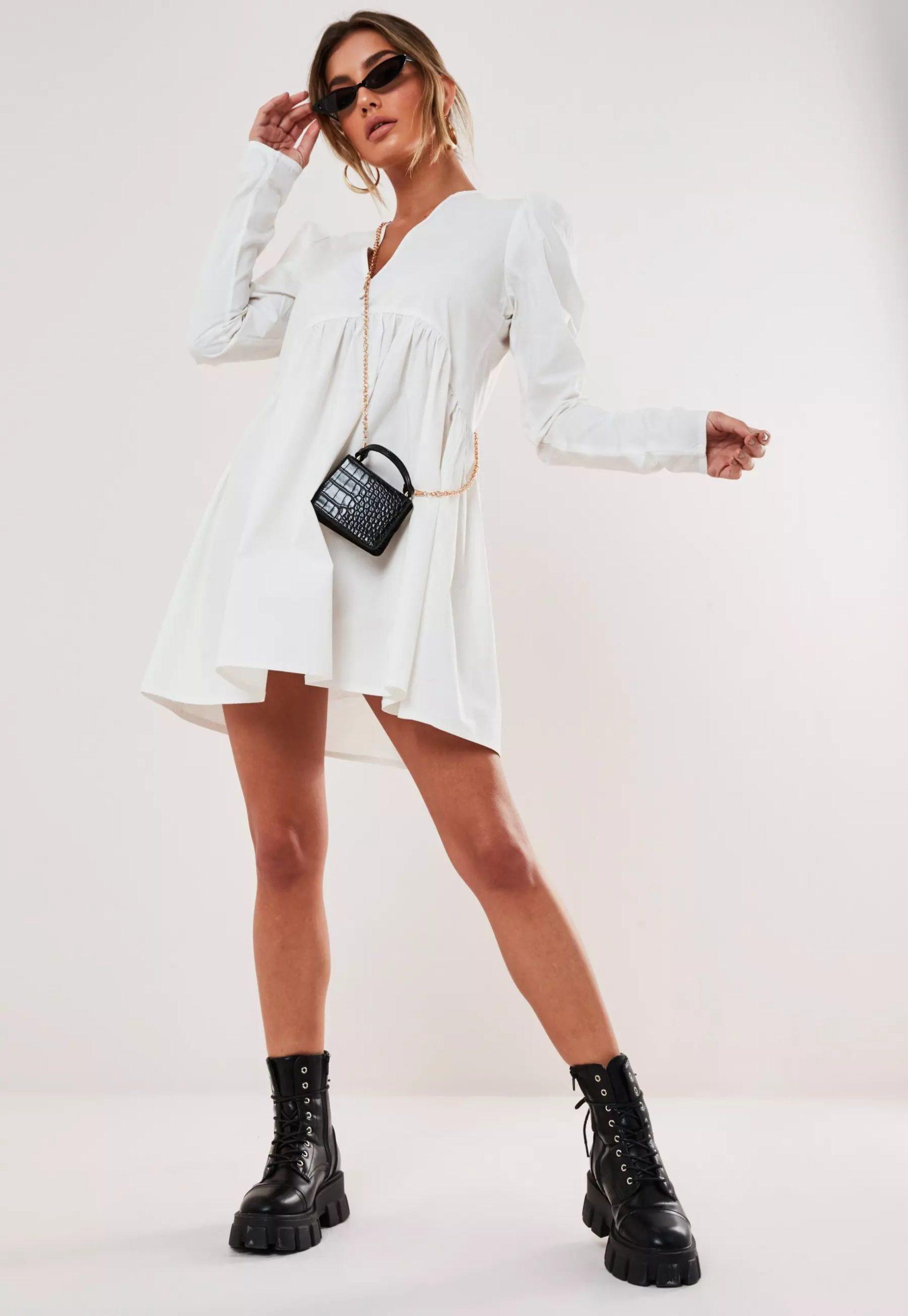 white poplin v neck button smock dress