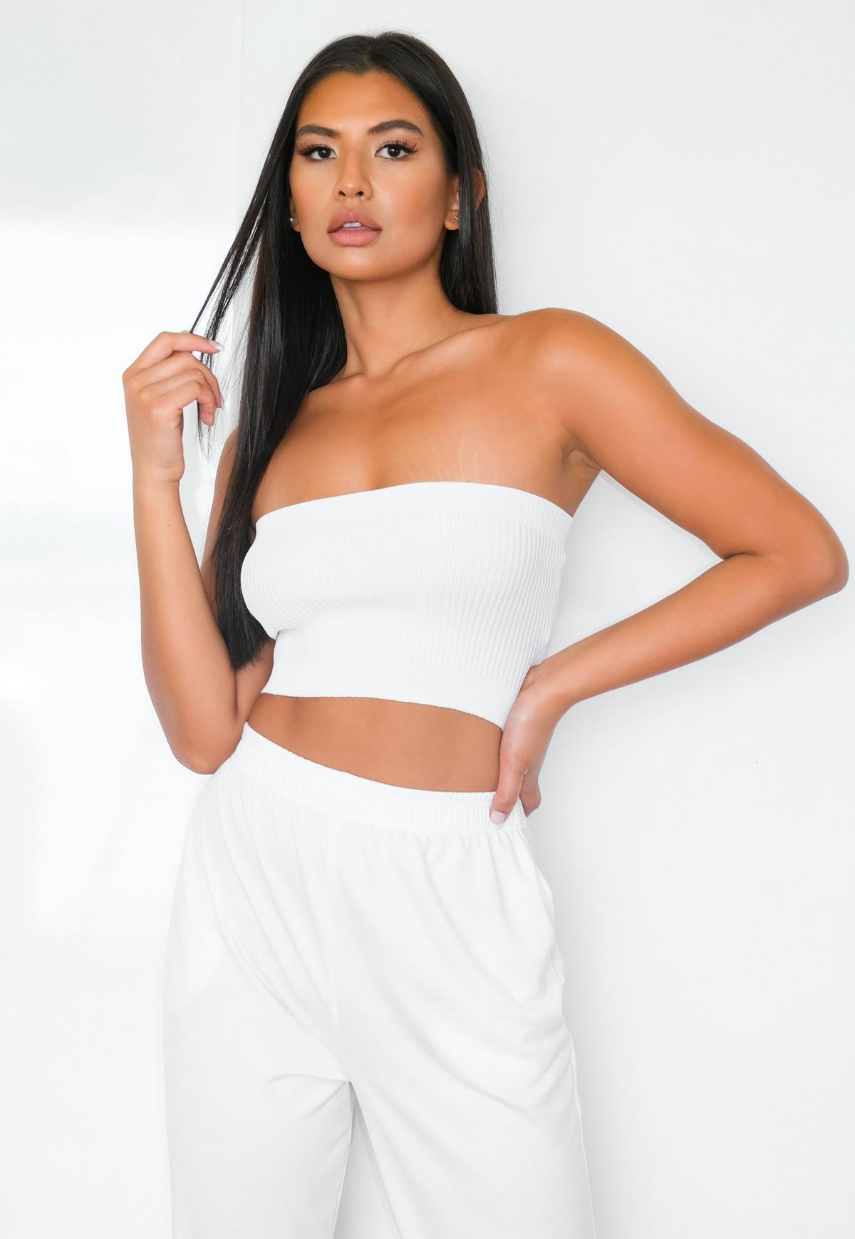 white rib knitted bandeau top