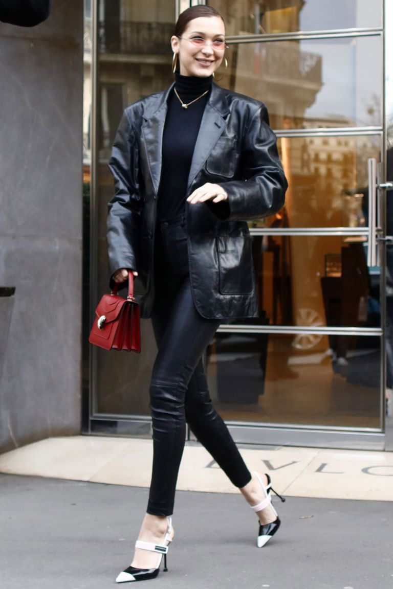 Women Leather Pants with Oversized Blazer