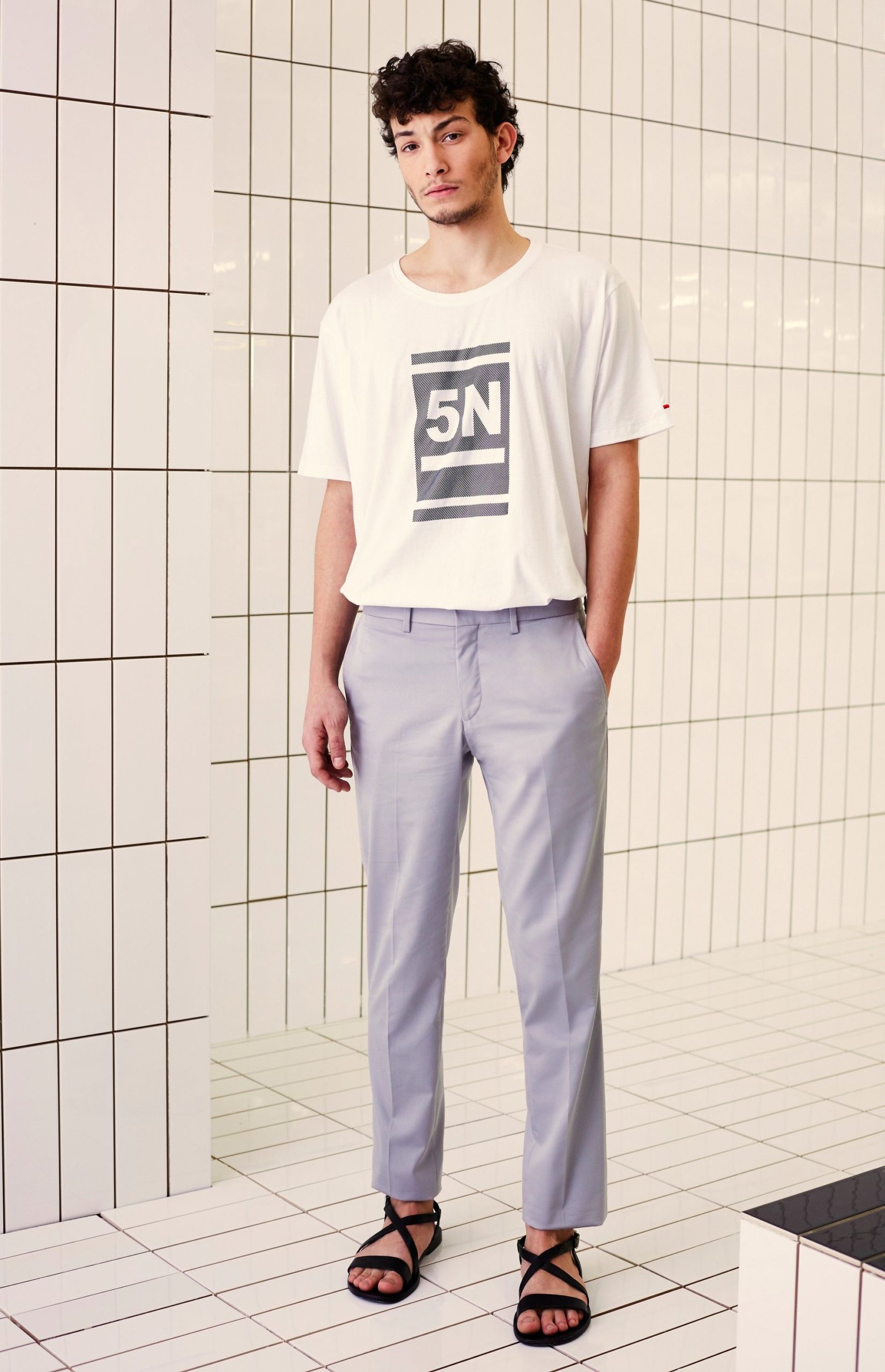 men's Cropped Trousers with Graphic Tee
