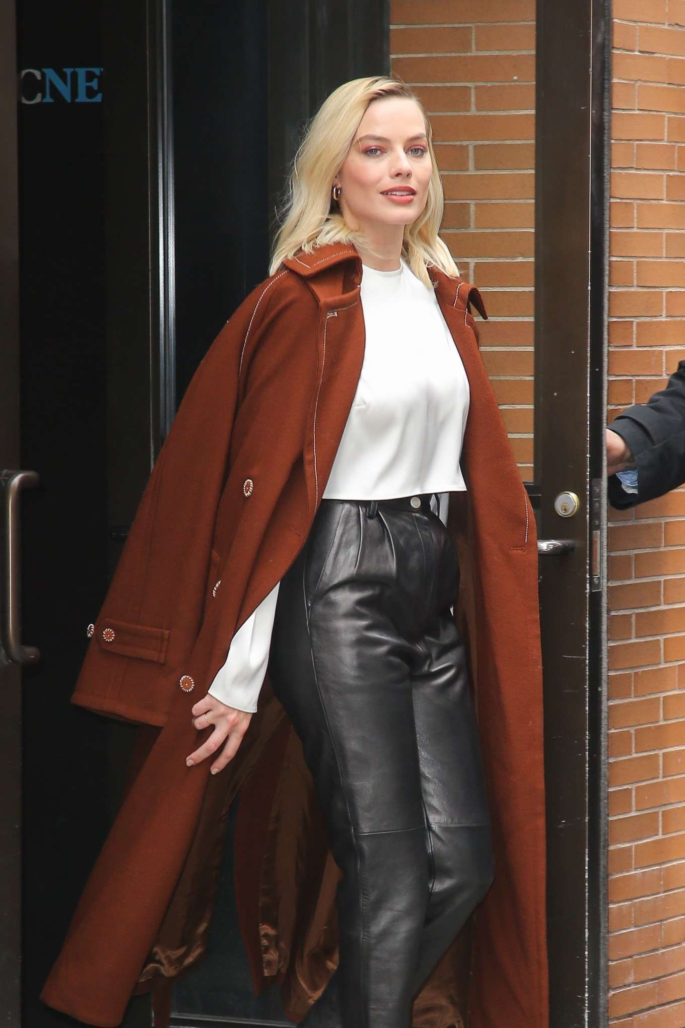 Women Leather Pants with Double Breasted Coat