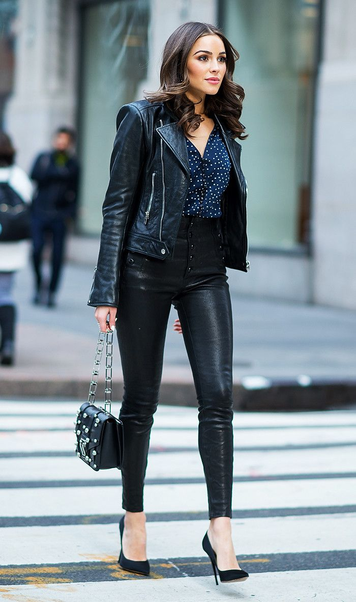 Women Leather Pants with Leather Blazer & Pumps