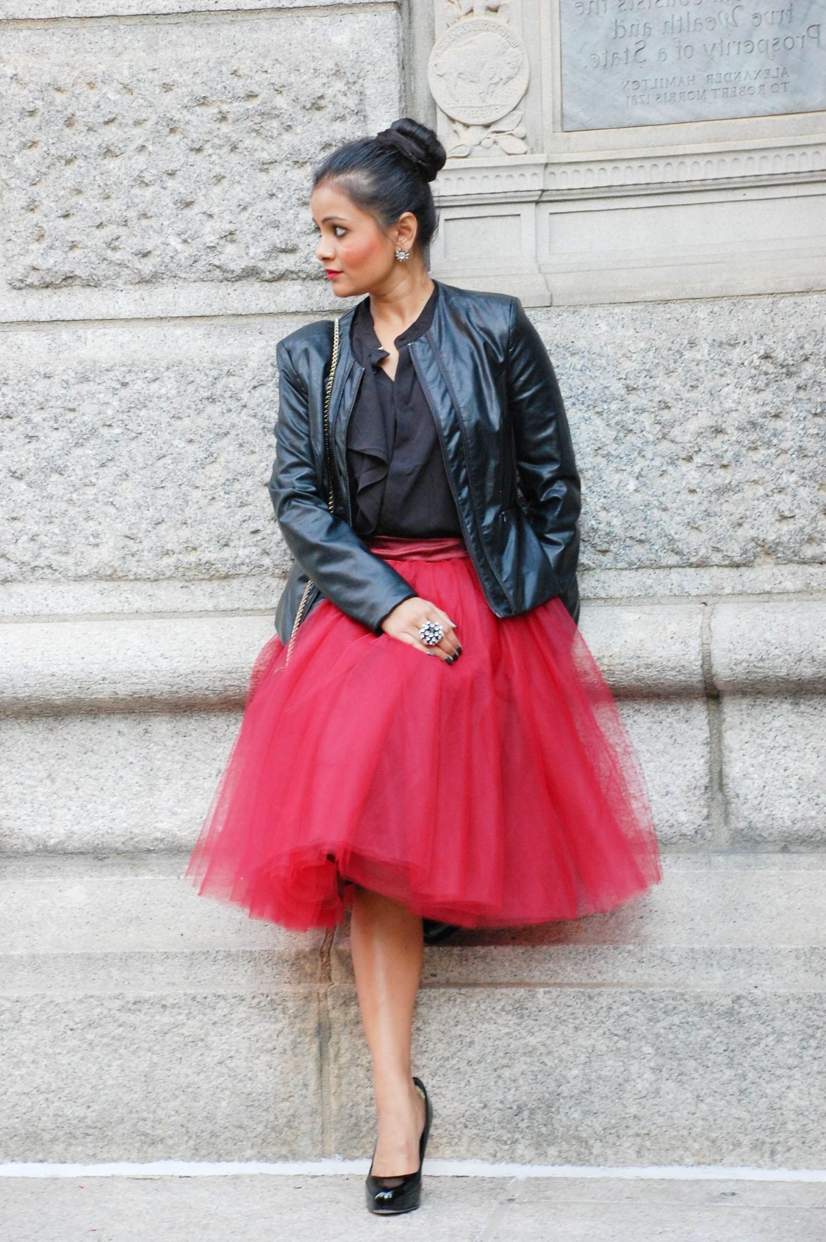 tulle skirt with tucked-in shirt