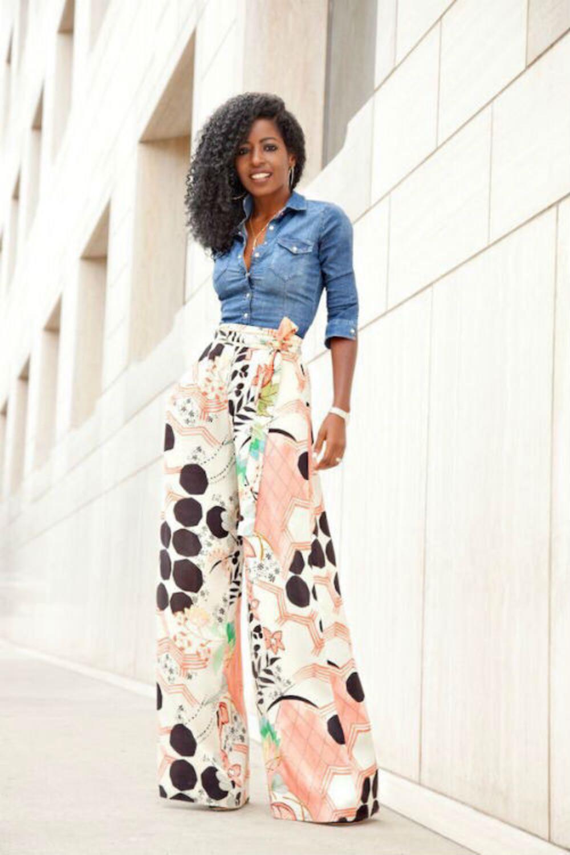 Women Patterned pants with denim shirt
