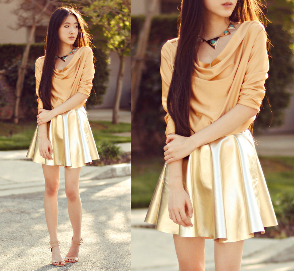 Cowl Neck Top with Skater Skirt