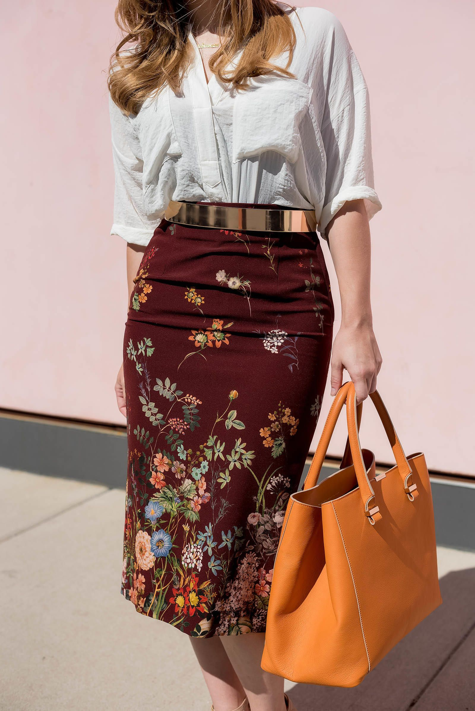 Floral Print Tube Skirt with Bright Coloured Top