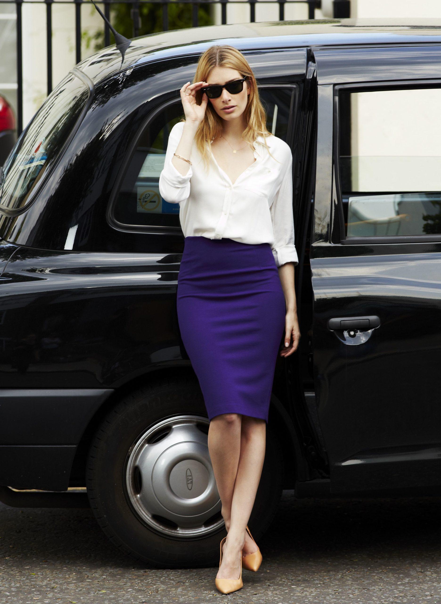 High-Waisted Tube Skirt with Masculine Shirt