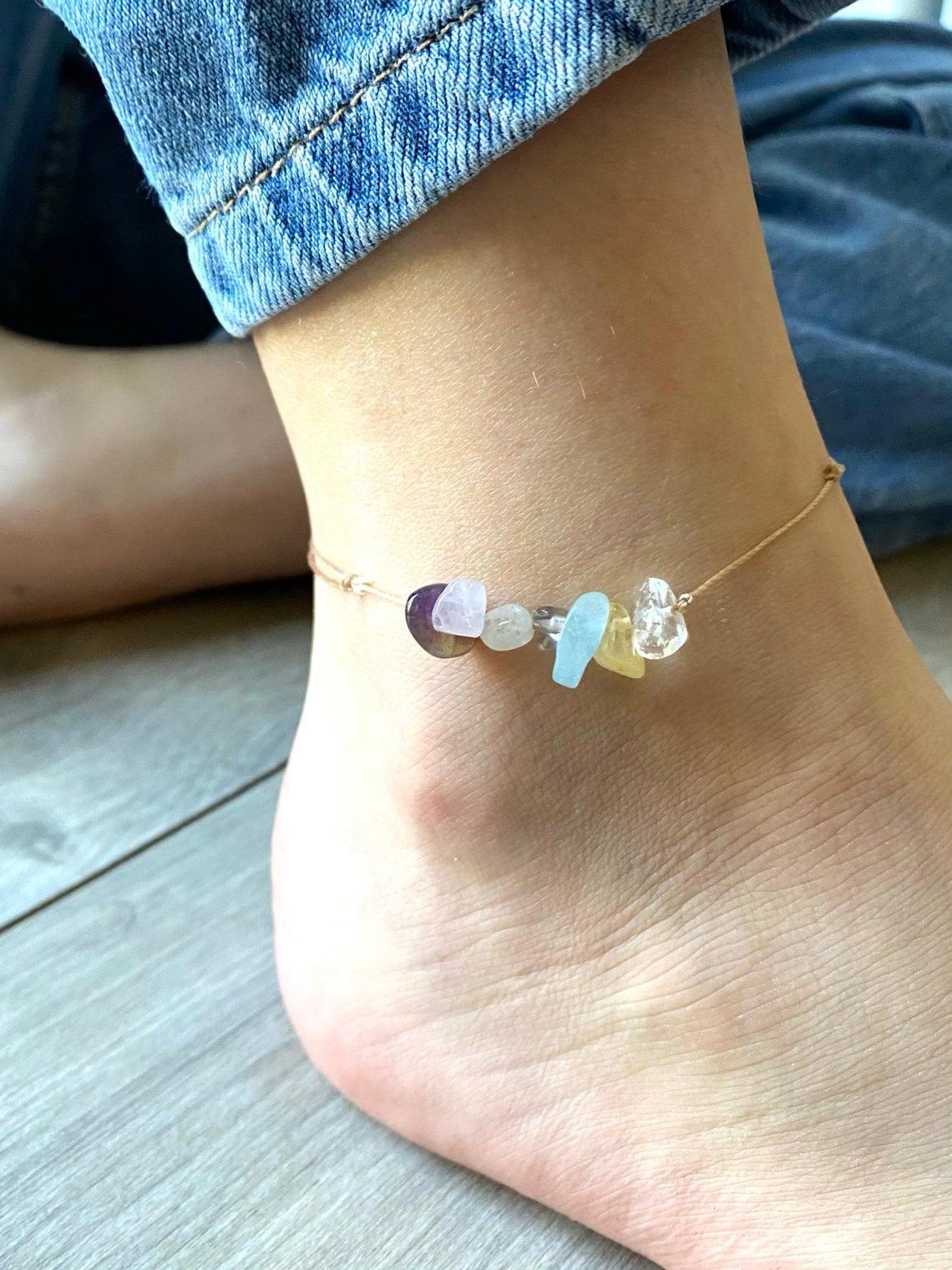 7 Chakra Anklet - Crystal Anklet - Friendship Anklet - Healing Crystal Anklet - Destress Jewellery - Boho Anklet - Healing Jewellery
