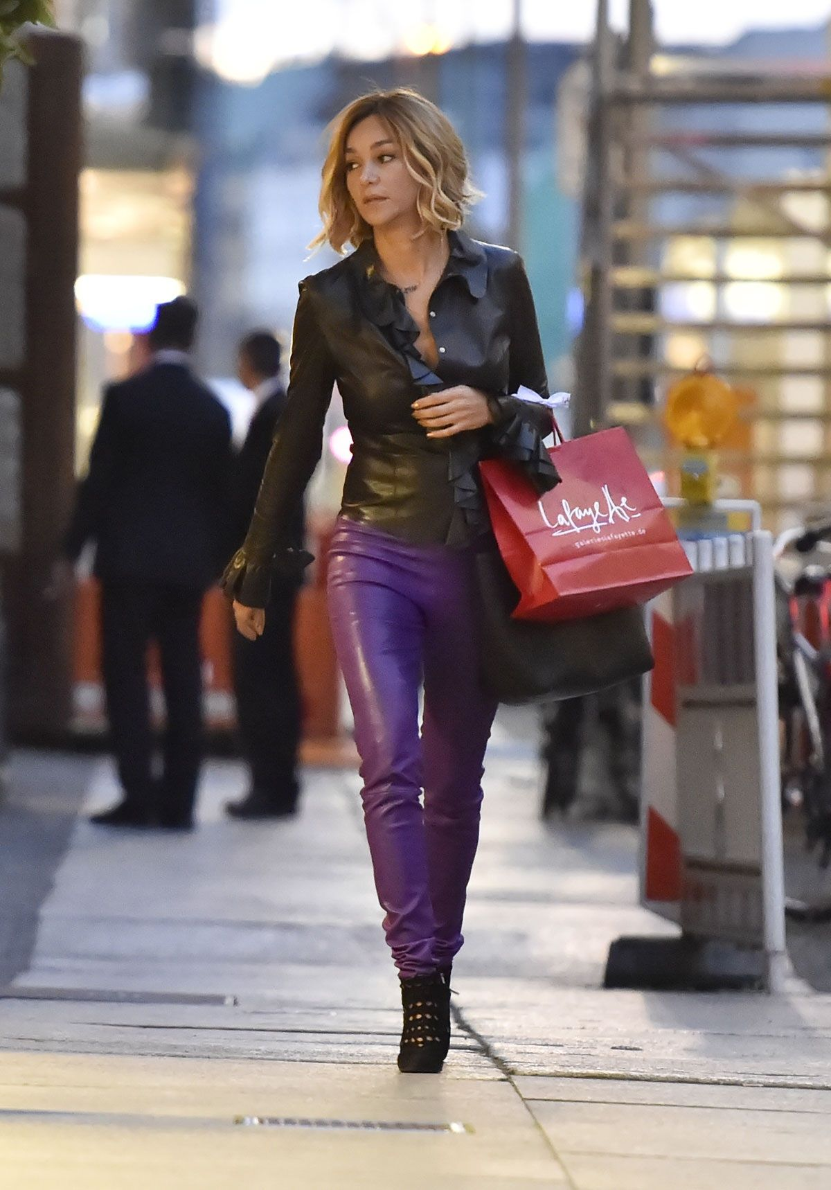 Women Leather Pants with Leather Shirt