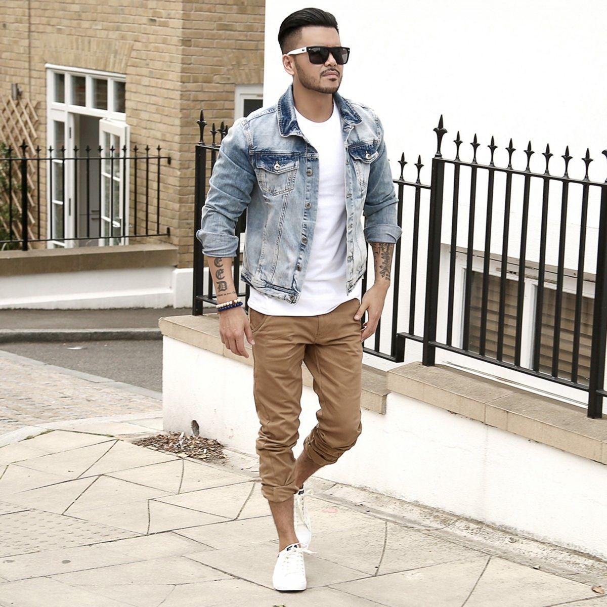 men Cropped pants with Denim Jacket
