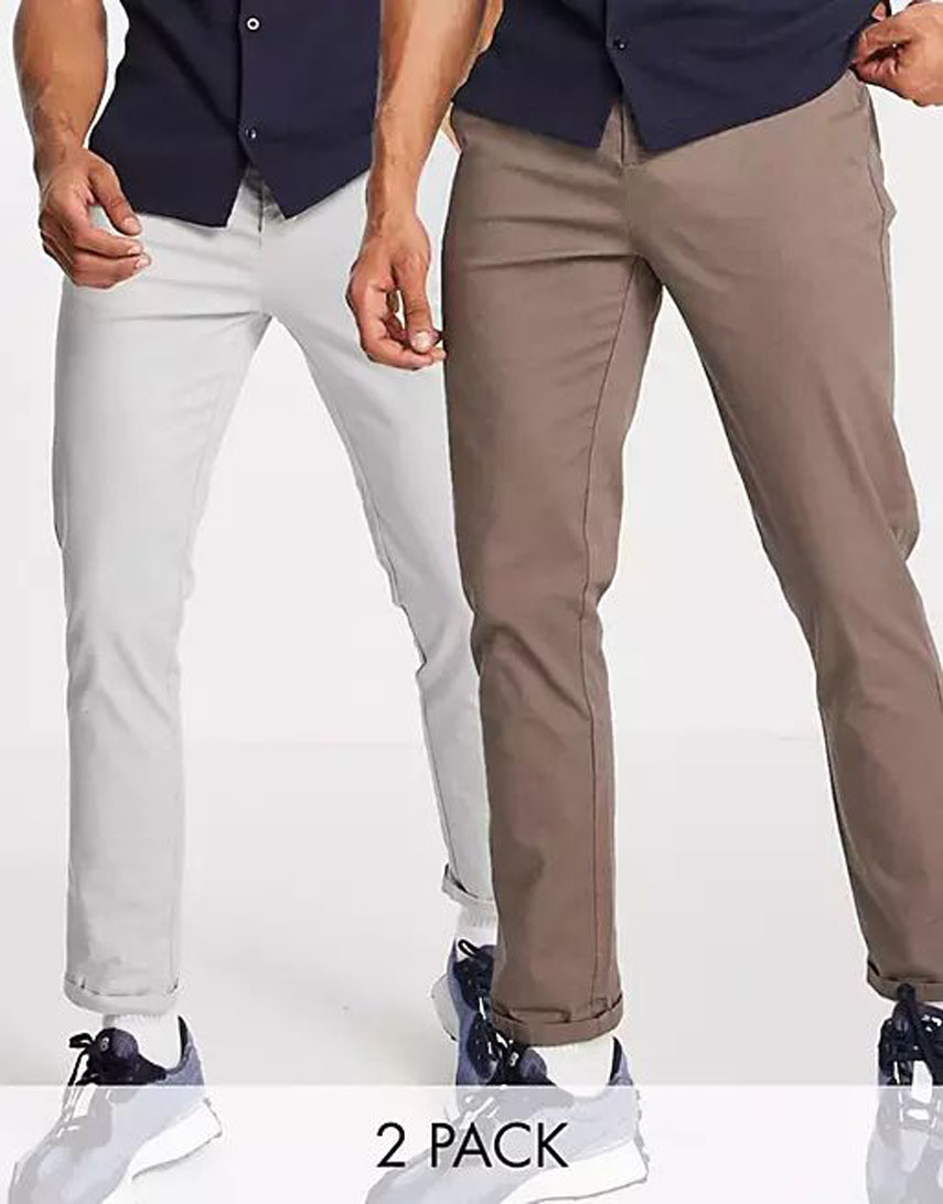 ASOS DESIGN 2 pack slim chinos in brown and light grey save