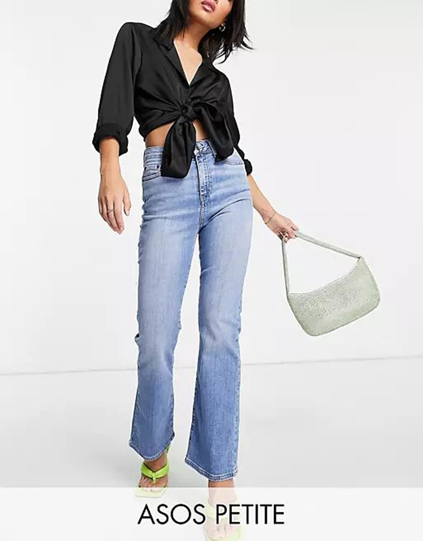 ASOS DESIGN Petite high rise 'Y2K' stretch flare jeans in midwash