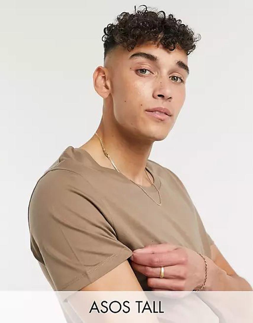 ASOS DESIGN Tall scoop neck t-shirt in tan