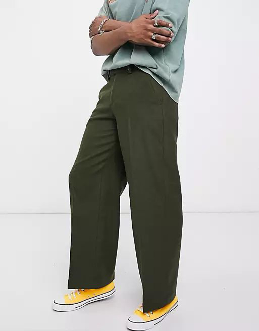 ASOS DESIGN extreme wide leg smart trouser in khaki wool mix