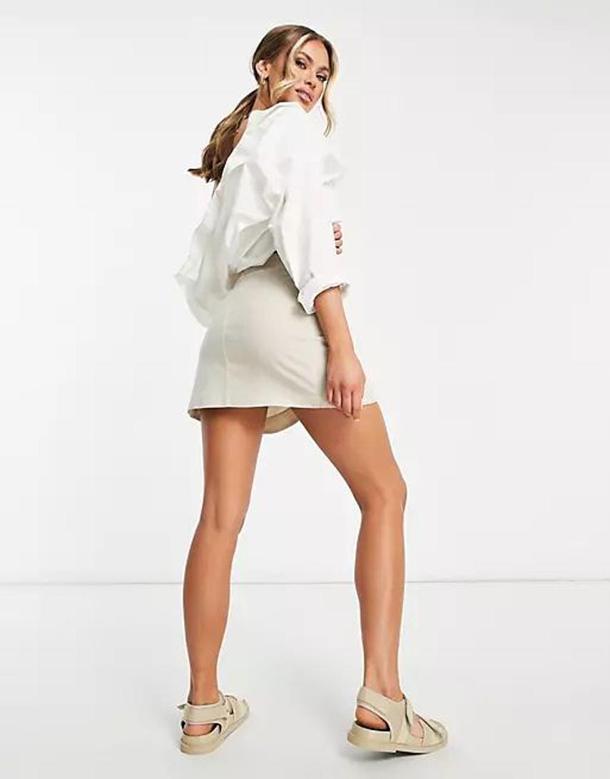 ASOS DESIGN linen wrap mini skirt in stone