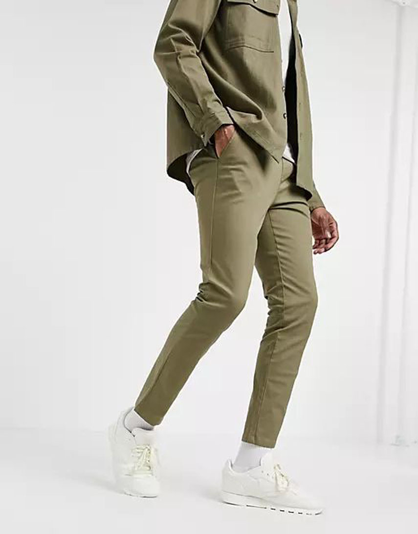 ASOS DESIGN skinny chinos with elastic waist in light green