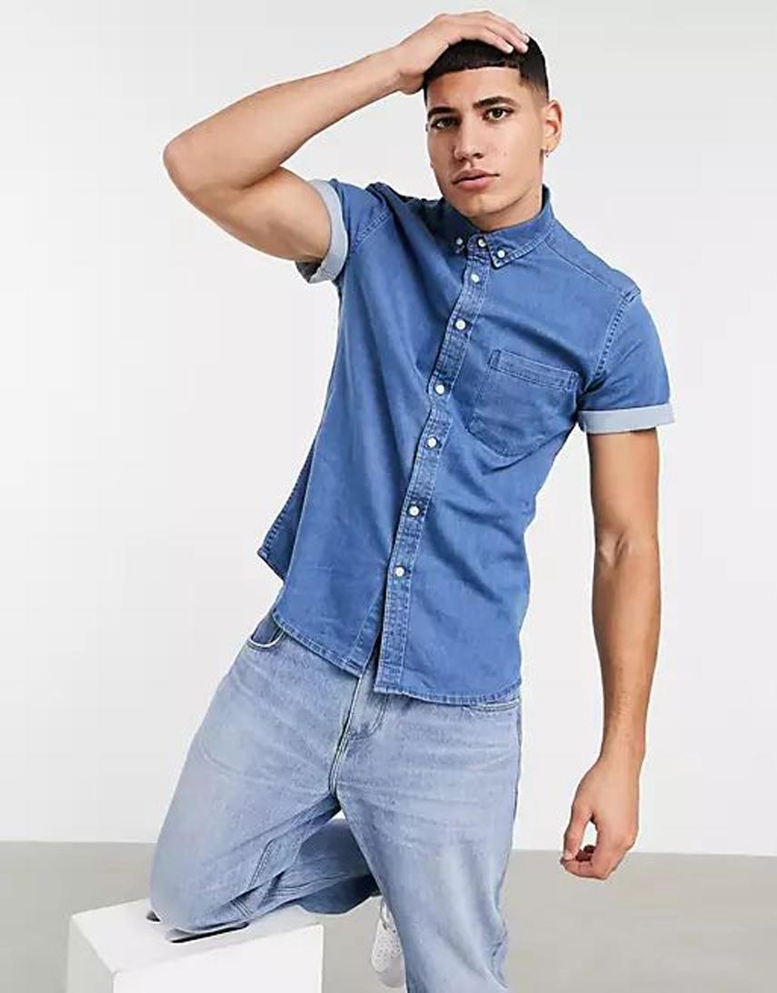 ASOS DESIGN stretch slim organic denim shirt in light wash