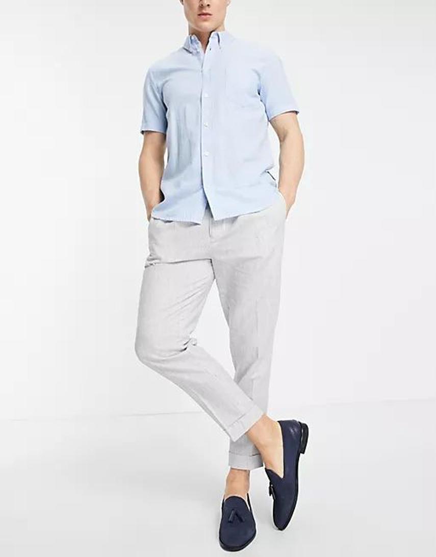 ASOS DESIGN tapered smart trouser in grey stripe linen