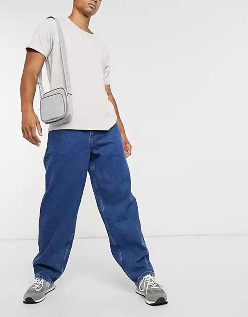 ASOS DESIGN ultra baggy jeans in mid wash blue