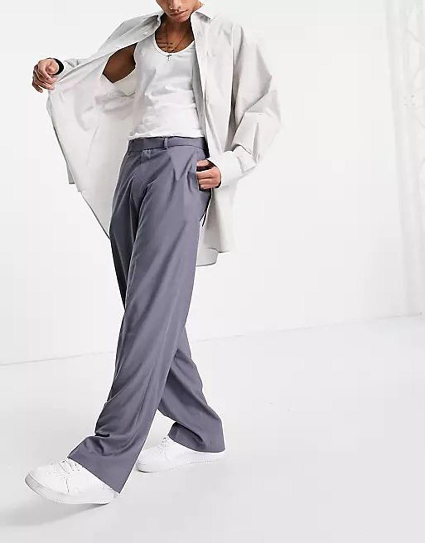ASOS DESIGN wide leg smart trousers in grey herringbone