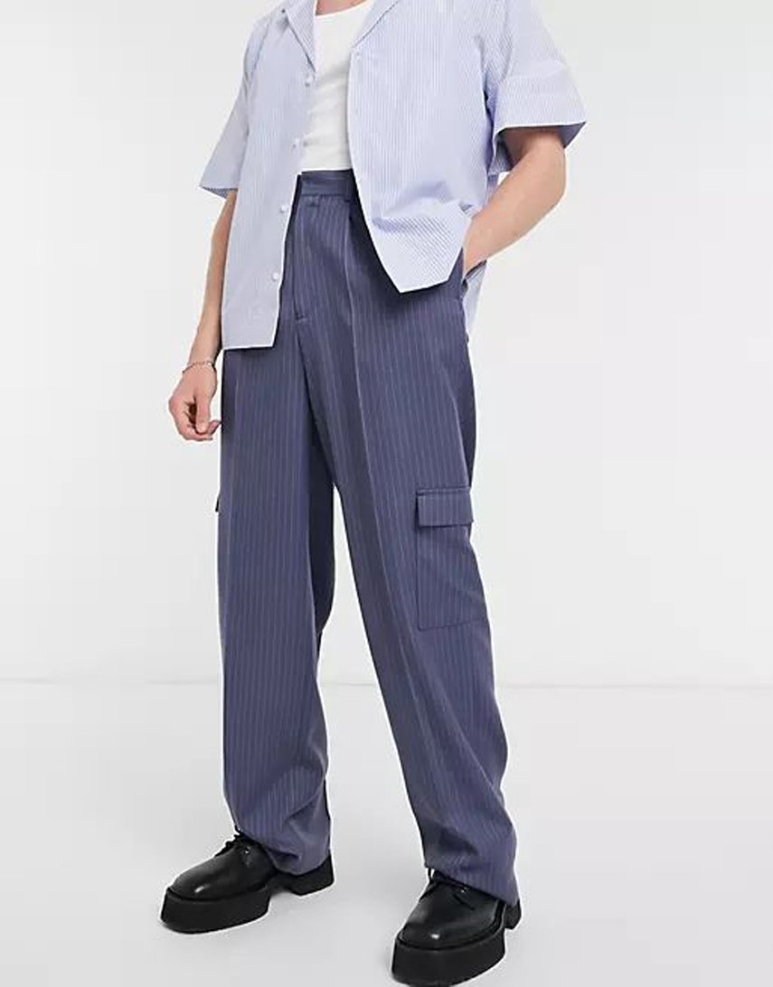 ASOS DESIGN wide leg smart trousers in navy pinstripe and cargo pockets