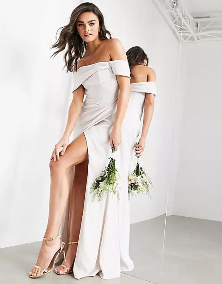 ASOS EDITION satin bardot drape wrap maxi dress in pale silver