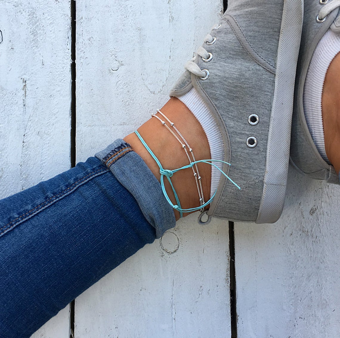 Aqua Blue Sea Turtle Anklet, silver beaded anklet, aqua cord anklet, beaded ankle bracelet, turtle anklet, cute animal anklet by Turtle Toes